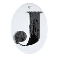 Grungy letter J Ornament (Oval)