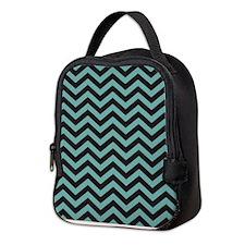 Chevron Teal Black Neoprene Lunch Bag