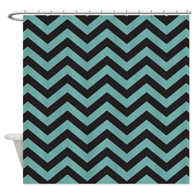 chevron teal black shower curtain by mainstreethomewares