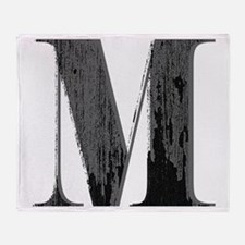 Vintage grungy letter M Throw Blanket