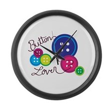 Button Lover Large Wall Clock