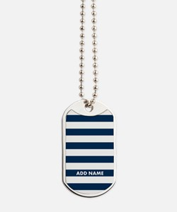white navy rugby stripes Dog Tags