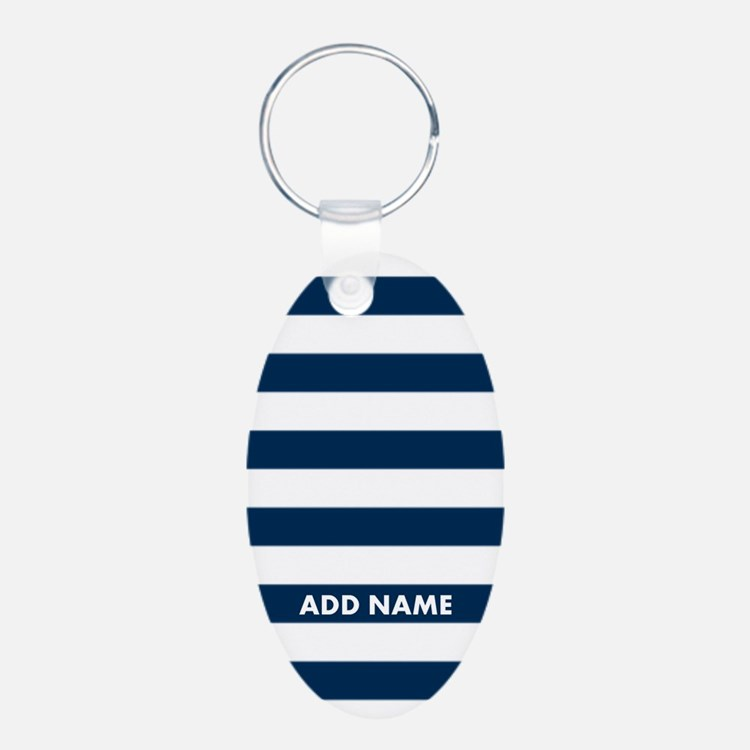 white navy rugby stripes Keychains