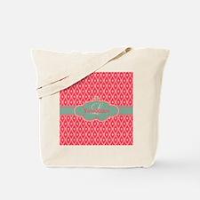 Pink Modern Trellis Custom Monogram Tote Bag