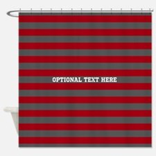 red gray rugby stripes Shower Curtain