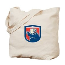 Grizzly Bear Swiping Paw Shield Retro Tote Bag