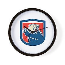 Grizzly Bear Swiping Paw Shield Retro Wall Clock