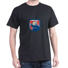Grizzly Bear Swiping Paw Shield Retro T-Shirt