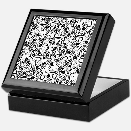 Black White Ornamental Flourish Damask Pattern Kee