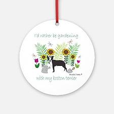 gardening with my dog Round Ornament