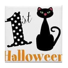 1st Halloween Cat Tile Coaster