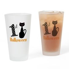 1st Halloween Cat Drinking Glass