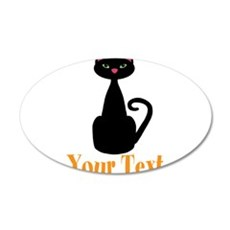 Personalizable Orange Black Cat Wall Decal