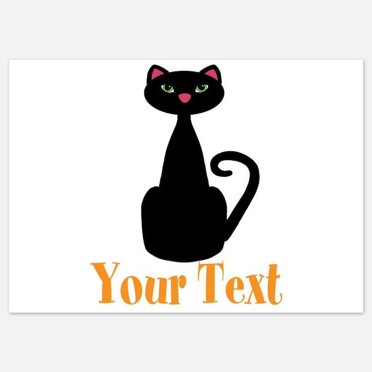 Personalizable Orange Black Cat Invitations