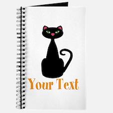 Personalizable Orange Black Cat Journal
