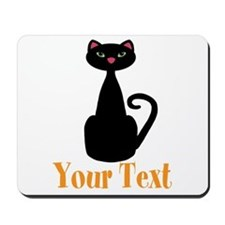Personalizable Orange Black Cat Mousepad