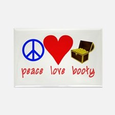 Peace Love Pirate Booty Rectangle Magnet