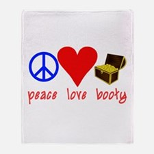 Peace Love Pirate Booty Throw Blanket