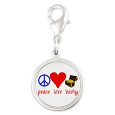 Peace Love Pirate Booty Silver Round Charm