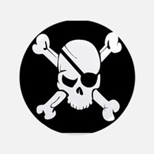 "Jolly Roger Pirate Flag 3.5"" Button (100 pack)"