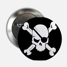 """Jolly Roger Pirate Flag 2.25"""" Button"""