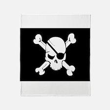 Jolly Roger Pirate Flag Throw Blanket