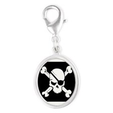 Jolly Roger Pirate Flag Silver Oval Charm