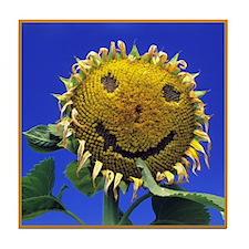 Smiling Sunflower Sq Tile Coaster
