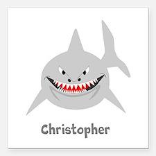 "Personalized Shark Design Square Car Magnet 3"" x 3"