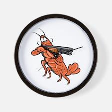 Crayfish Lobster Aiming Shotgun Cartoon Wall Clock