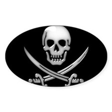 Glassy Skull and Cross Sword Decal