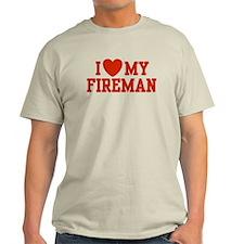 I Love my Fireman Ash Grey T-Shirt