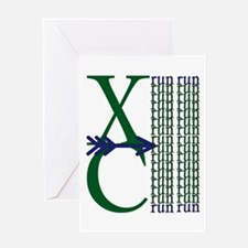 XC Run Green Blue Greeting Cards
