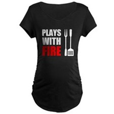 Plays With Fire Grill Maternity T-Shirt