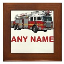 FIRETRUCK with Any Name or Text Framed Tile