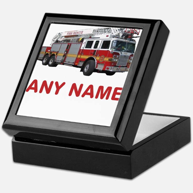 FIRETRUCK with Any Name or Text Keepsake Box
