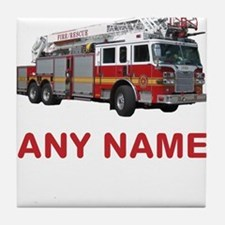 FIRETRUCK with Any Name or Text Tile Coaster