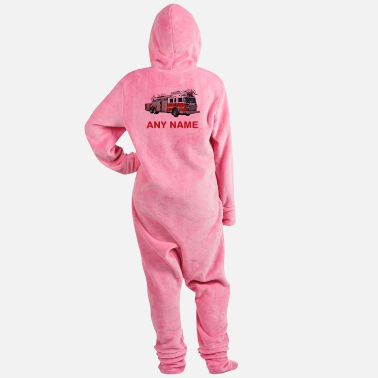 FIRETRUCK with Any Name or Text Footed Pajamas