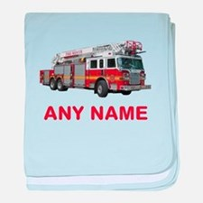 FIRETRUCK with Any Name or Text baby blanket
