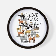 Cute Group of cats Wall Clock