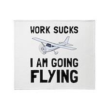 Work Sucks Flying Throw Blanket