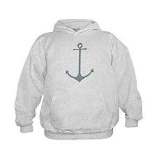 Anchor - Turquoise Burlap Chevron Hoodie
