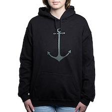 Anchor - Turquoise Burlap Chevron Women's Hooded S