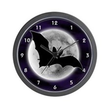 Full Moon Bat Blue Wall Clock