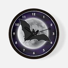 Full Moon Bat Blue Wall Clock