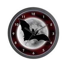 Full Moon Bat Red Wall Clock