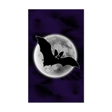 Full Moon Bat Blue Rectangle Sticker