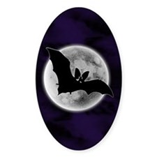 Full Moon Bat Blue Oval Decal