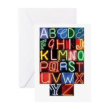 Neon Alphabet Greeting Cards