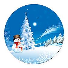 Snowman Christmas Round Magnet